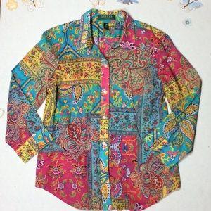 Ralph Lauren boho shirt petite medium